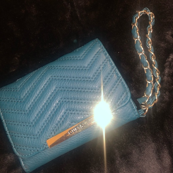 Turquoise Guess Wristlet